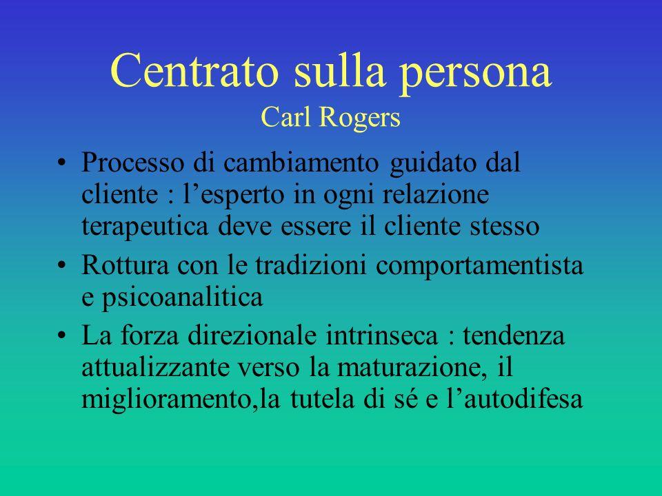 Centrato sulla persona Carl Rogers Processo di cambiamento guidato dal cliente : lesperto in ogni relazione terapeutica deve essere il cliente stesso