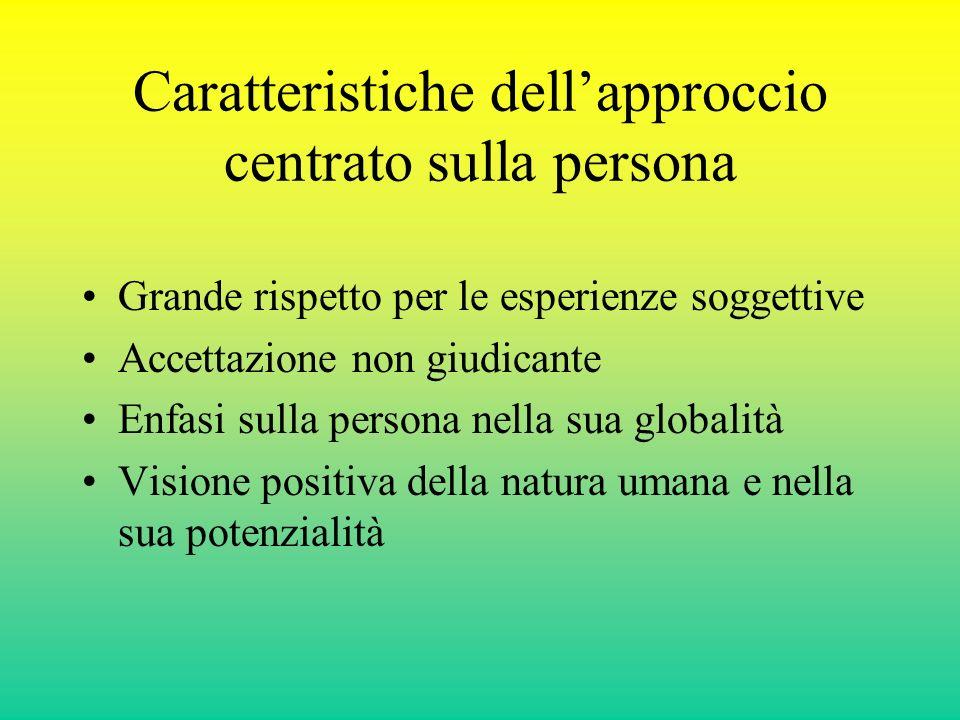 Caratteristiche dellapproccio centrato sulla persona Grande rispetto per le esperienze soggettive Accettazione non giudicante Enfasi sulla persona nel
