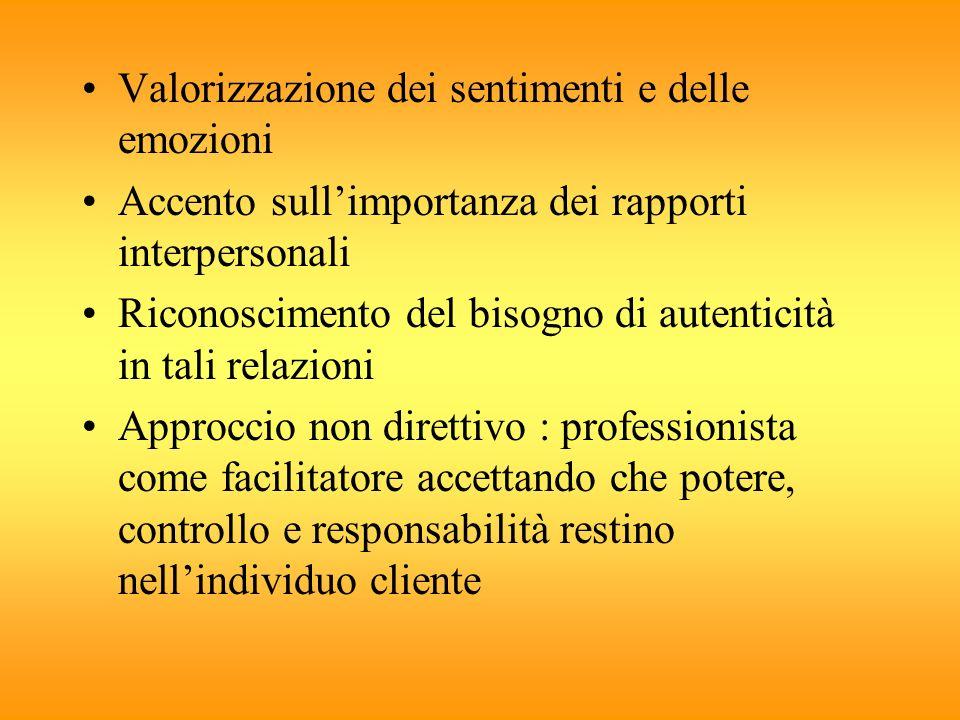 Valorizzazione dei sentimenti e delle emozioni Accento sullimportanza dei rapporti interpersonali Riconoscimento del bisogno di autenticità in tali re