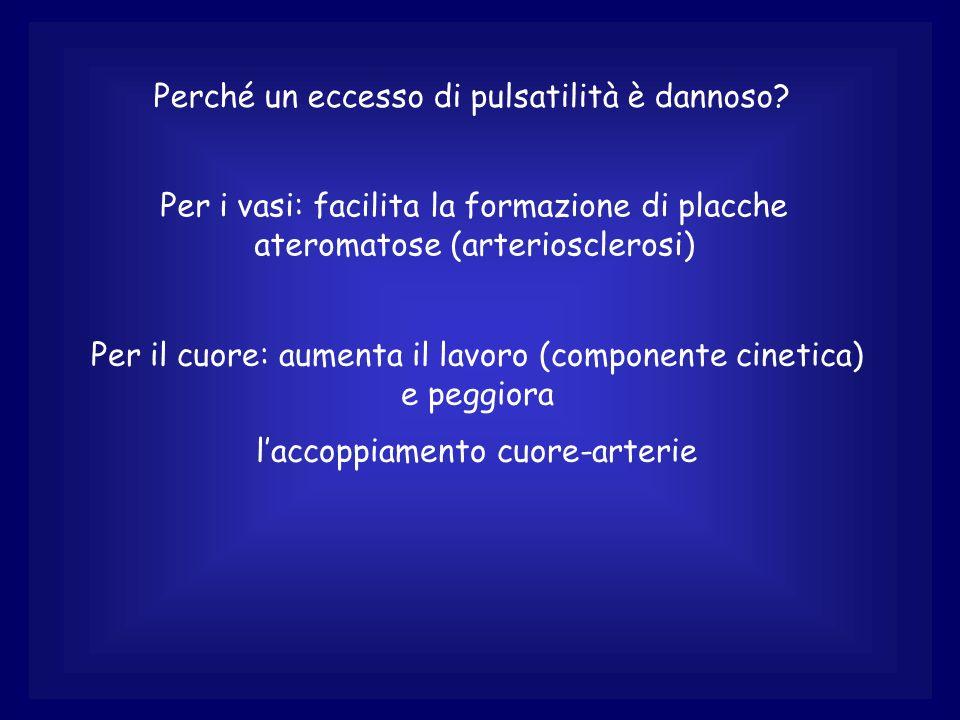 Perché un eccesso di pulsatilità è dannoso? Per i vasi: facilita la formazione di placche ateromatose (arteriosclerosi) Per il cuore: aumenta il lavor