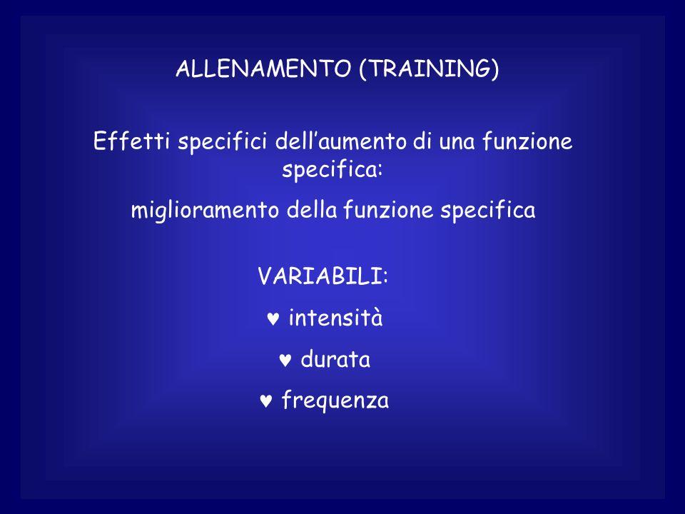 ALLENAMENTO (TRAINING) Effetti specifici dellaumento di una funzione specifica: miglioramento della funzione specifica VARIABILI: © intensità © durata