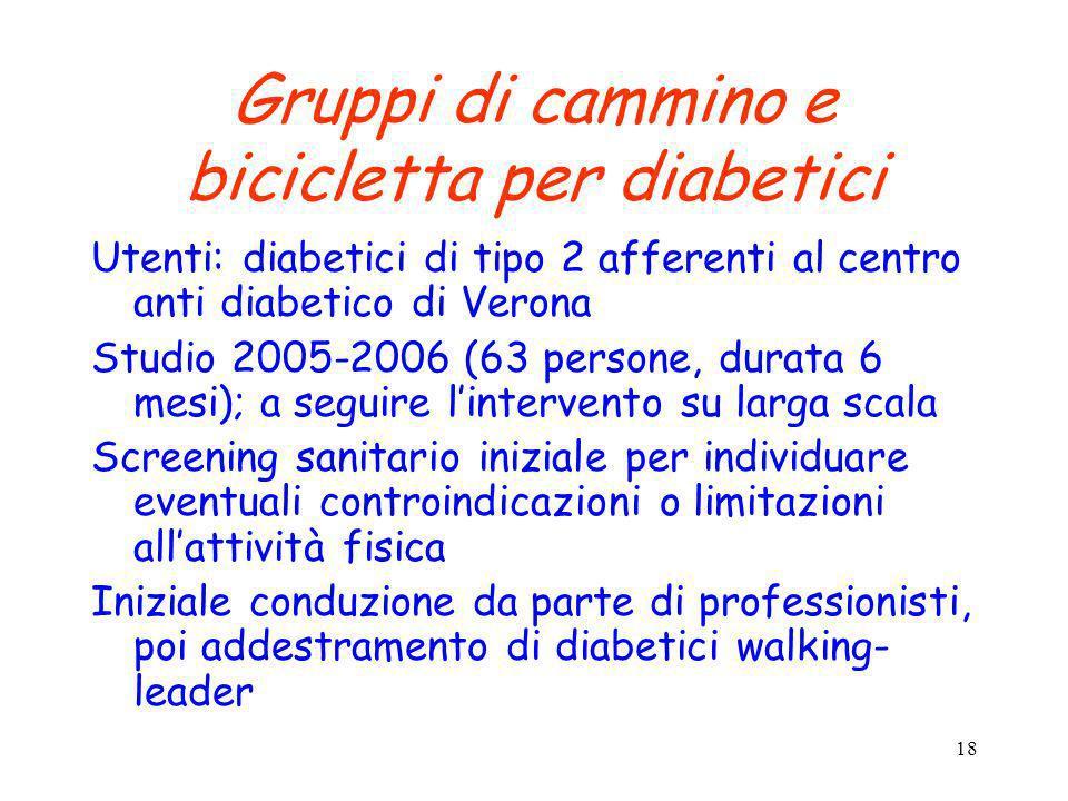 18 Gruppi di cammino e bicicletta per diabetici Utenti: diabetici di tipo 2 afferenti al centro anti diabetico di Verona Studio 2005-2006 (63 persone,