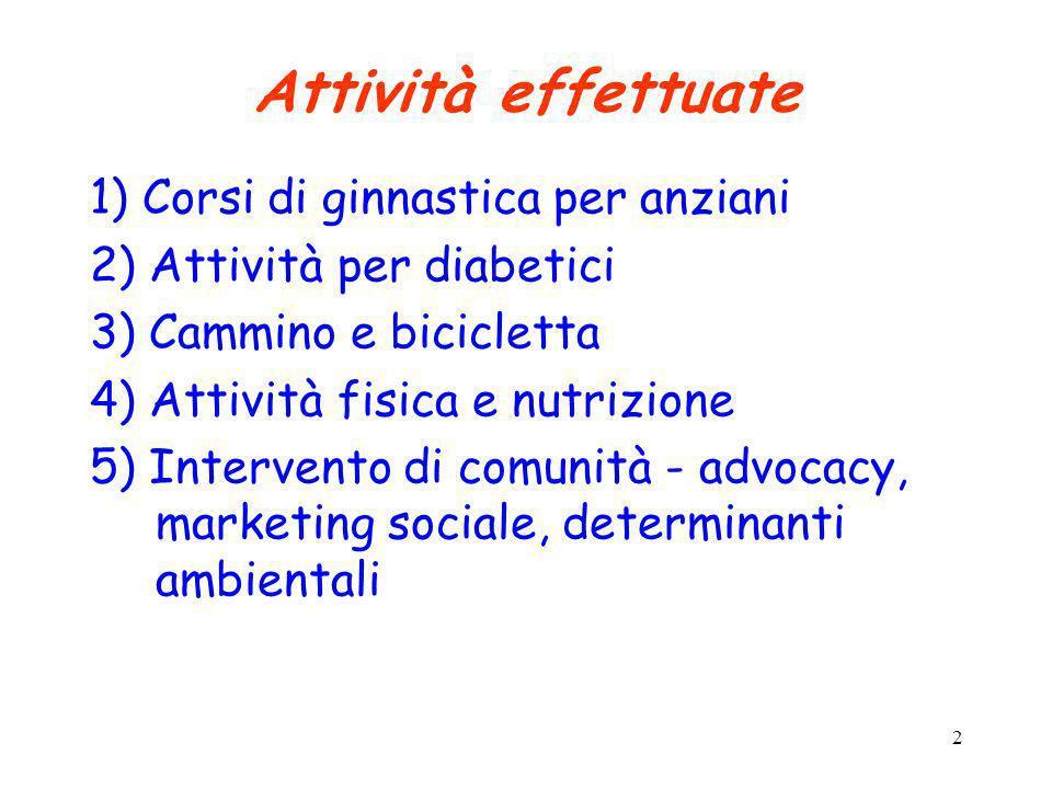 2 Attività effettuate 1) Corsi di ginnastica per anziani 2) Attività per diabetici 3) Cammino e bicicletta 4) Attività fisica e nutrizione 5) Interven