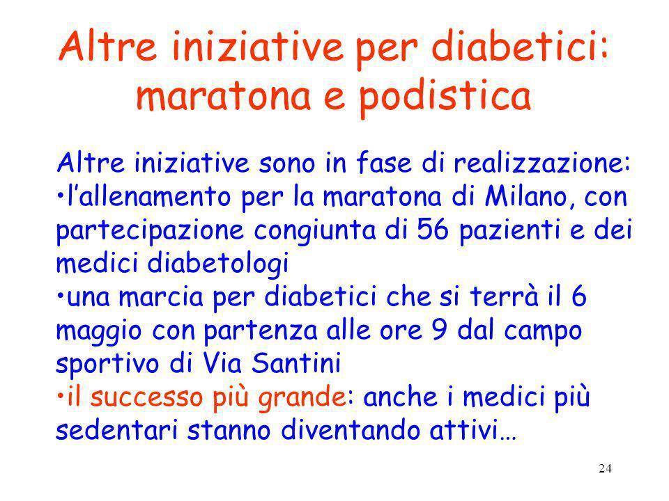 24 Altre iniziative per diabetici: maratona e podistica Altre iniziative sono in fase di realizzazione: lallenamento per la maratona di Milano, con pa
