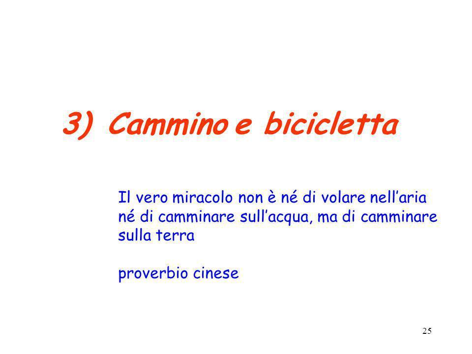 25 3)Cammino e bicicletta Il vero miracolo non è né di volare nellaria né di camminare sullacqua, ma di camminare sulla terra proverbio cinese