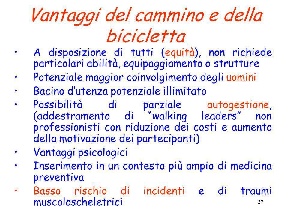 27 Vantaggi del cammino e della bicicletta A disposizione di tutti (equità), non richiede particolari abilità, equipaggiamento o strutture Potenziale