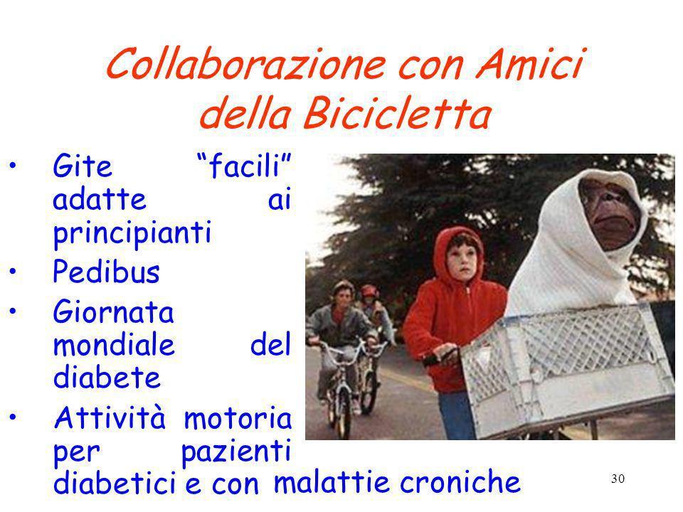 30 Collaborazione con Amici della Bicicletta Gite facili adatte ai principianti Pedibus Giornata mondiale del diabete Attività motoria per pazienti di