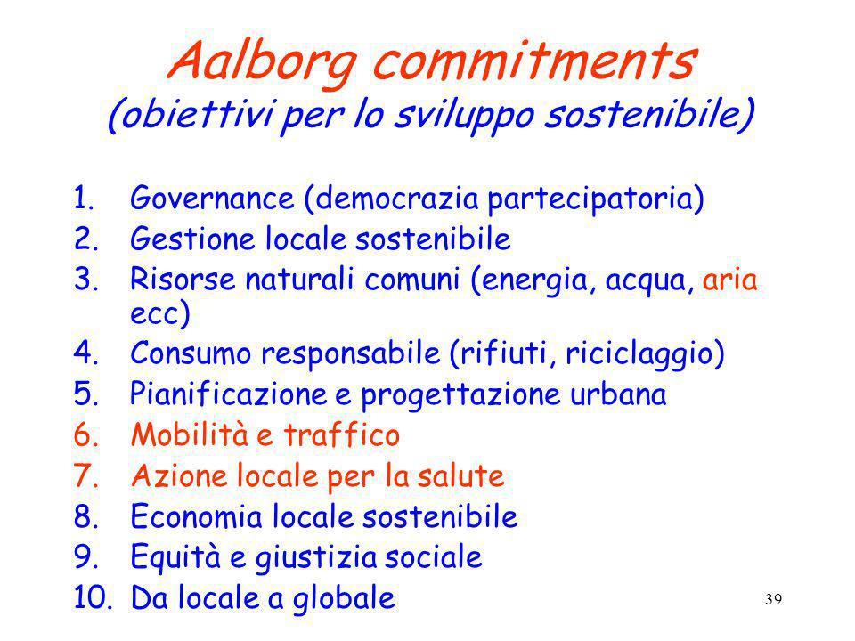 39 Aalborg commitments (obiettivi per lo sviluppo sostenibile) 1.Governance (democrazia partecipatoria) 2.Gestione locale sostenibile 3.Risorse natura