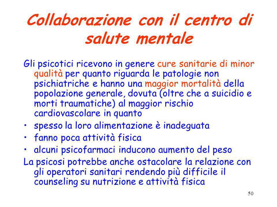 50 Collaborazione con il centro di salute mentale Gli psicotici ricevono in genere cure sanitarie di minor qualità per quanto riguarda le patologie no