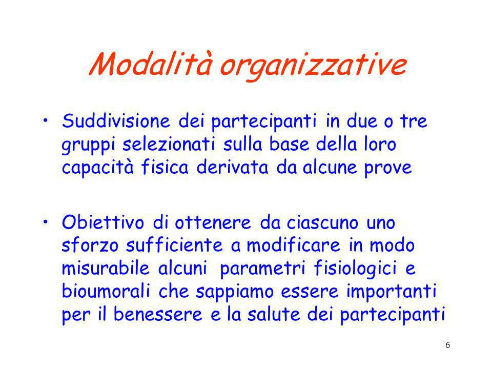 6 Modalità organizzative Suddivisione dei partecipanti in due o tre gruppi selezionati sulla base della loro capacità fisica derivata da alcune prove