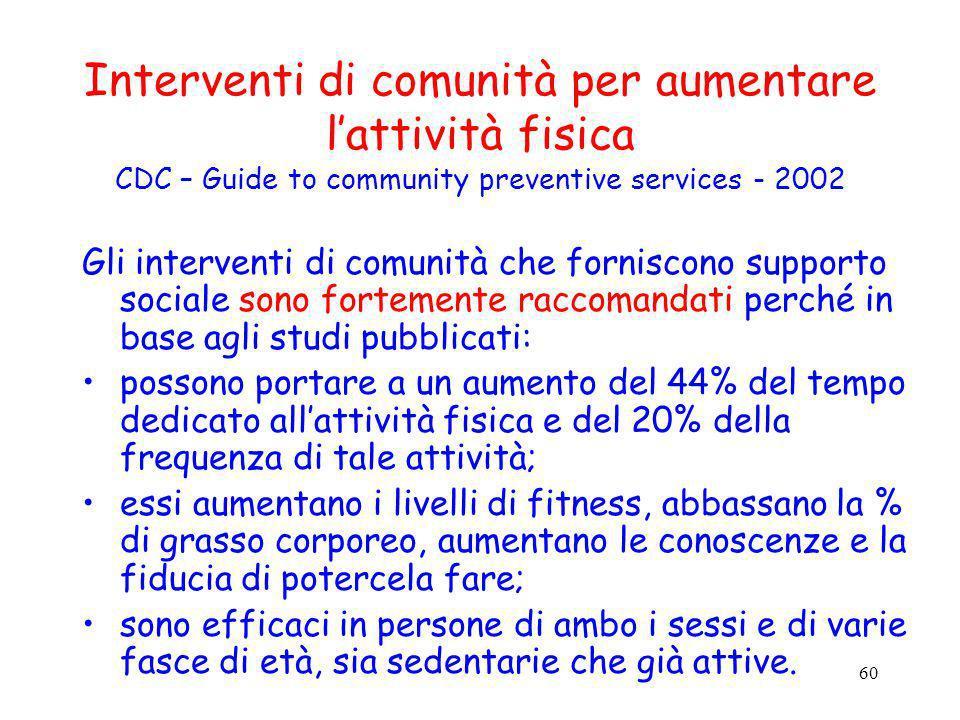 60 Interventi di comunità per aumentare lattività fisica CDC – Guide to community preventive services - 2002 Gli interventi di comunità che forniscono