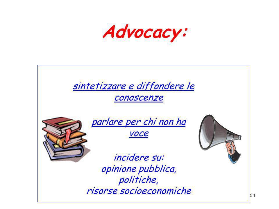 64 Advocacy: sintetizzare e diffondere le conoscenze parlare per chi non ha voce incidere su: opinione pubblica, politiche, risorse socioeconomiche