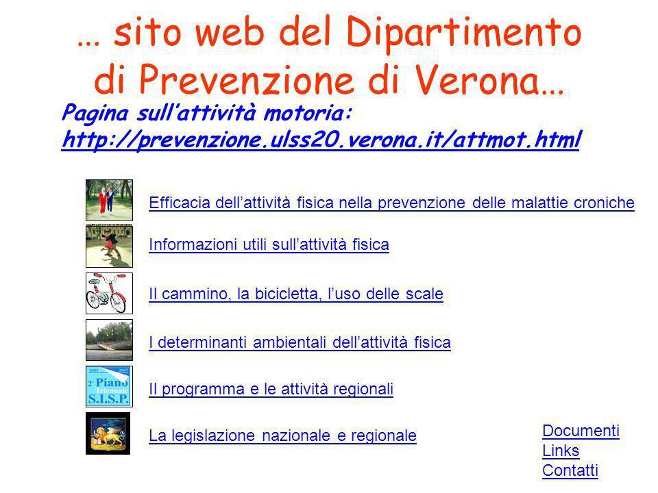 Pagina sullattività motoria: http://prevenzione.ulss20.verona.it/attmot.html Il cammino, la bicicletta, luso delle scale Documenti Links Contatti Effi