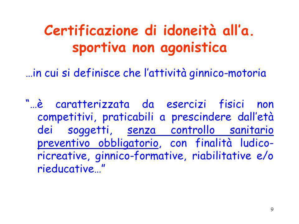 9 Certificazione di idoneità alla. sportiva non agonistica …in cui si definisce che lattività ginnico-motoria …è caratterizzata da esercizi fisici non