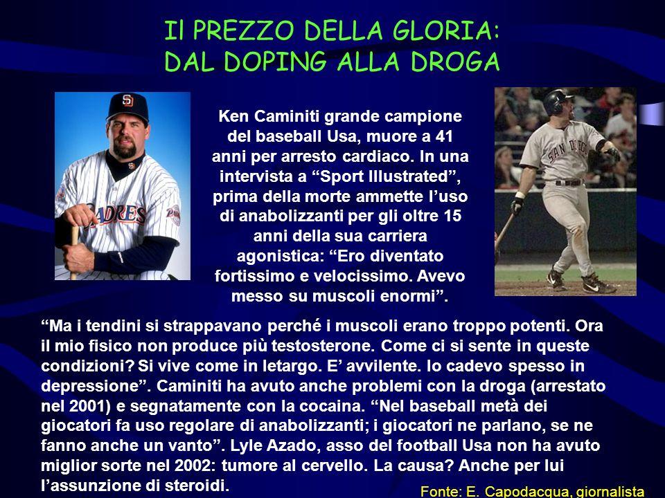 Il PREZZO DELLA GLORIA: DAL DOPING ALLA DROGA Ken Caminiti grande campione del baseball Usa, muore a 41 anni per arresto cardiaco. In una intervista a