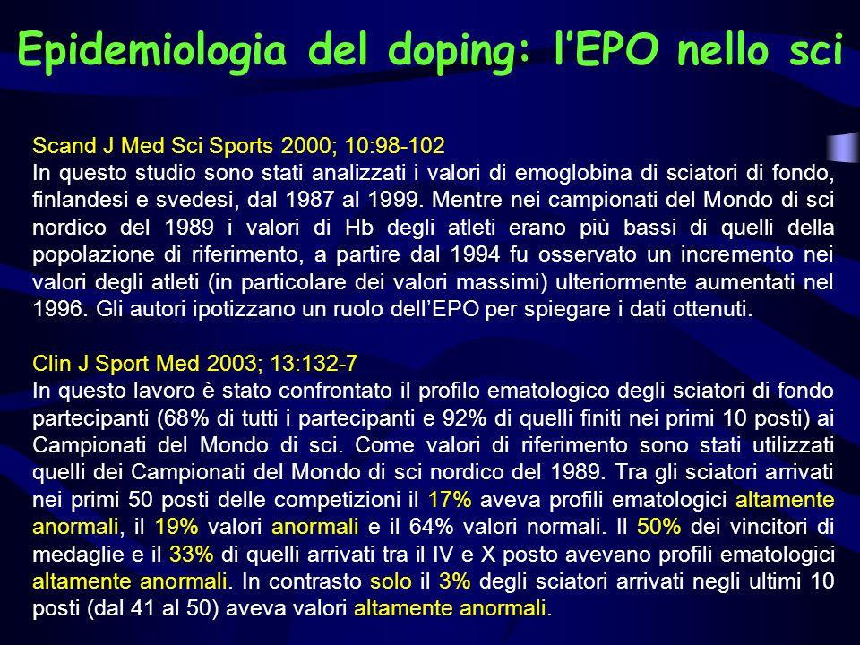 Epidemiologia del doping: lEPO nello sci Scand J Med Sci Sports 2000; 10:98-102 In questo studio sono stati analizzati i valori di emoglobina di sciat
