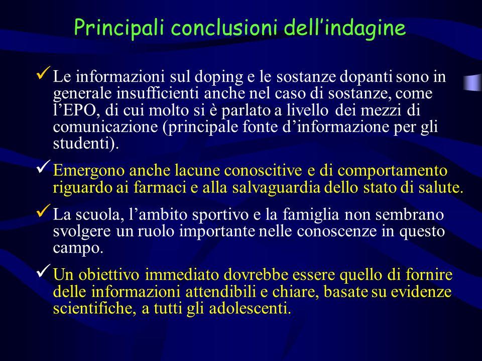 Le informazioni sul doping e le sostanze dopanti sono in generale insufficienti anche nel caso di sostanze, come lEPO, di cui molto si è parlato a liv