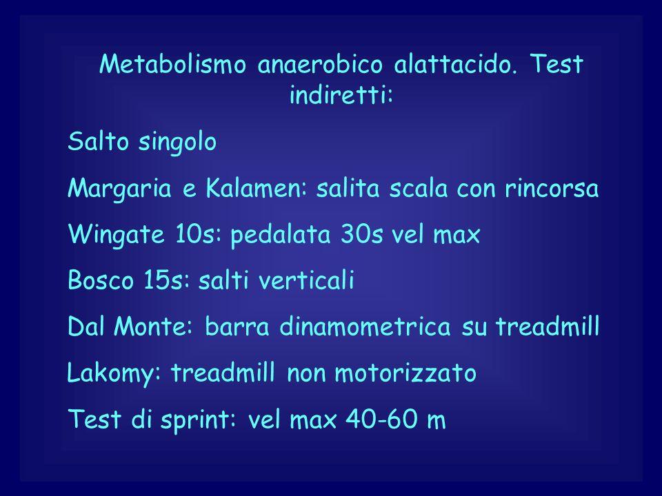 Metabolismo anaerobico alattacido. Test indiretti: Salto singolo Margaria e Kalamen: salita scala con rincorsa Wingate 10s: pedalata 30s vel max Bosco