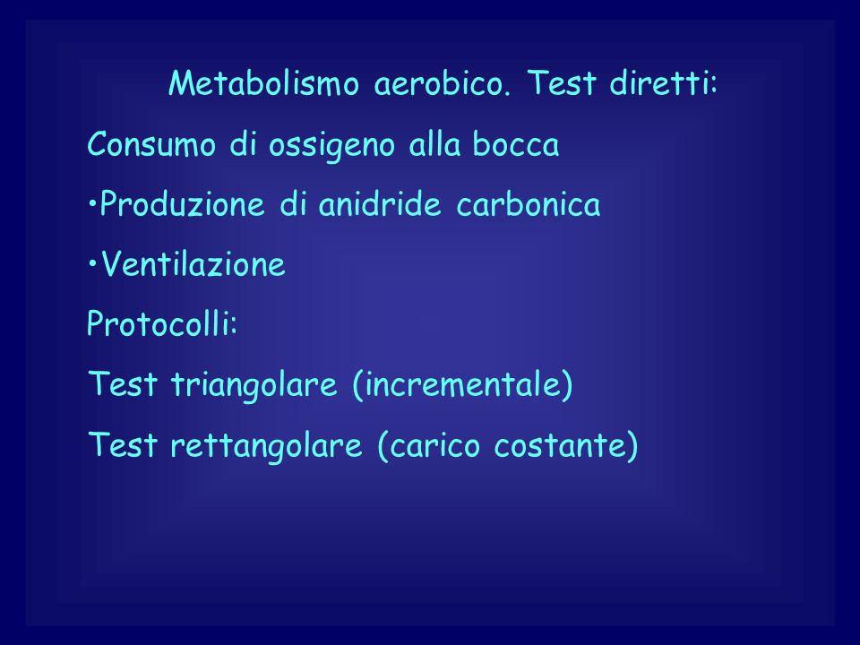 Metabolismo aerobico. Test diretti: Consumo di ossigeno alla bocca Produzione di anidride carbonica Ventilazione Protocolli: Test triangolare (increme