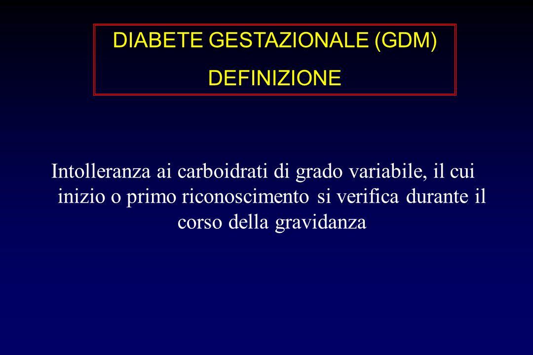Intolleranza ai carboidrati di grado variabile, il cui inizio o primo riconoscimento si verifica durante il corso della gravidanza DIABETE GESTAZIONALE (GDM) DEFINIZIONE