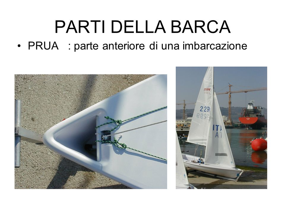 PARTI DELLA BARCA PRUA : parte anteriore di una imbarcazione