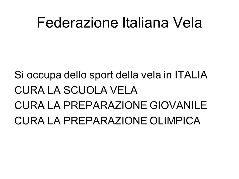Federazione Italiana Vela Si occupa dello sport della vela in ITALIA CURA LA SCUOLA VELA CURA LA PREPARAZIONE GIOVANILE CURA LA PREPARAZIONE OLIMPICA