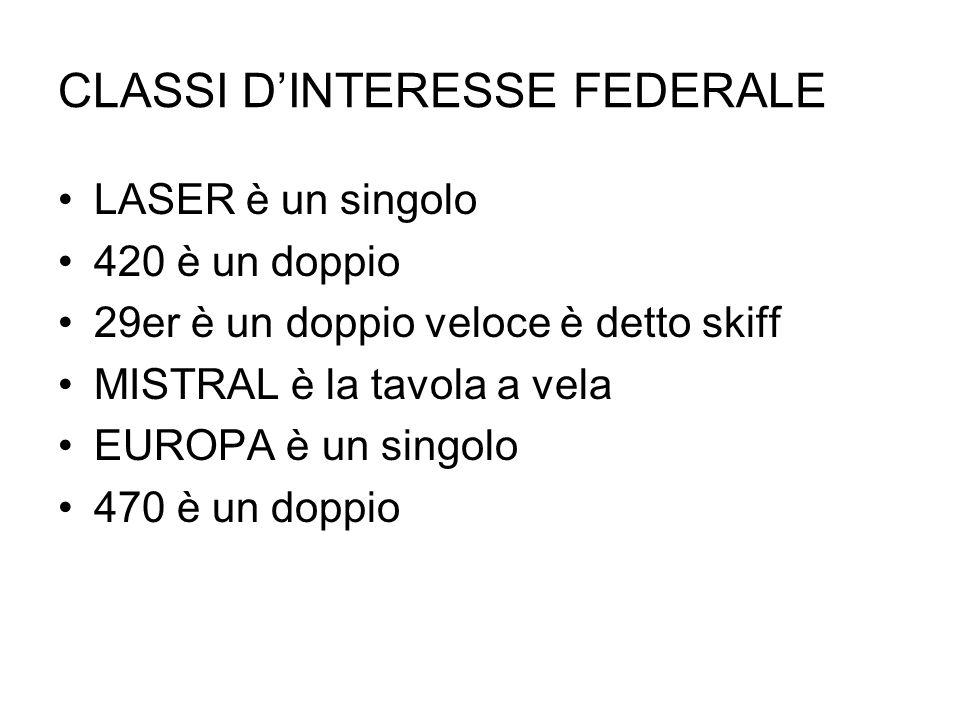 CLASSI DINTERESSE FEDERALE LASER è un singolo 420 è un doppio 29er è un doppio veloce è detto skiff MISTRAL è la tavola a vela EUROPA è un singolo 470 è un doppio