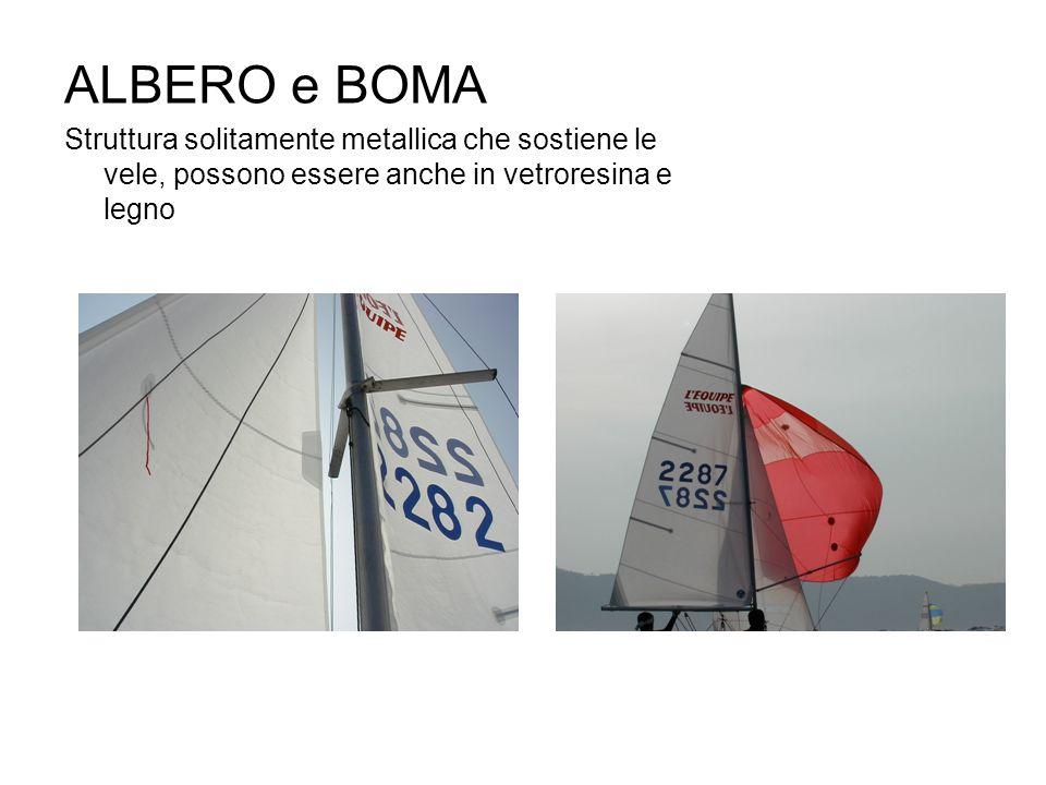 ALBERO e BOMA Struttura solitamente metallica che sostiene le vele, possono essere anche in vetroresina e legno