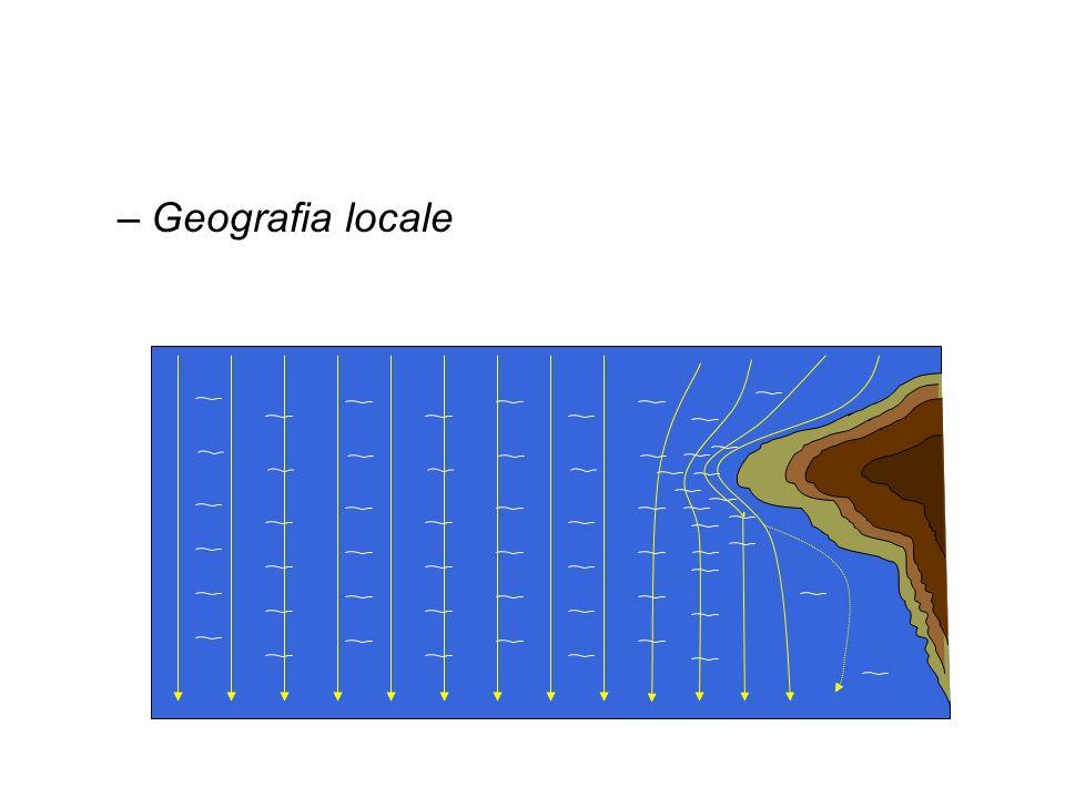 –Geografia locale Vento in quota 050° Vento in quota 180° Vento al suolo (mare) 035° Vento al suolo (terra) 020° Vento al suolo (mare) 165° Vento al s