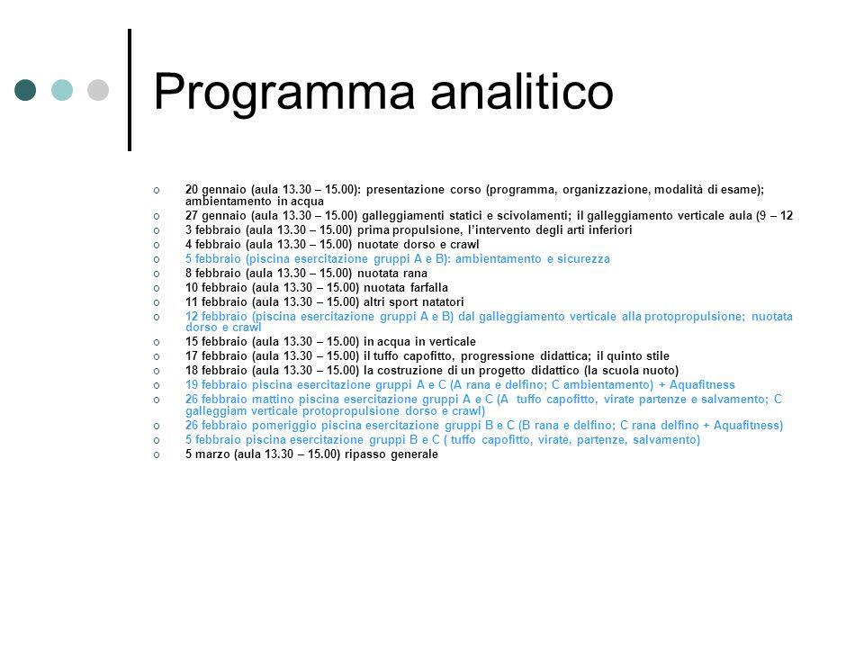 Programma analitico 20 gennaio (aula 13.30 – 15.00): presentazione corso (programma, organizzazione, modalità di esame); ambientamento in acqua 27 gen