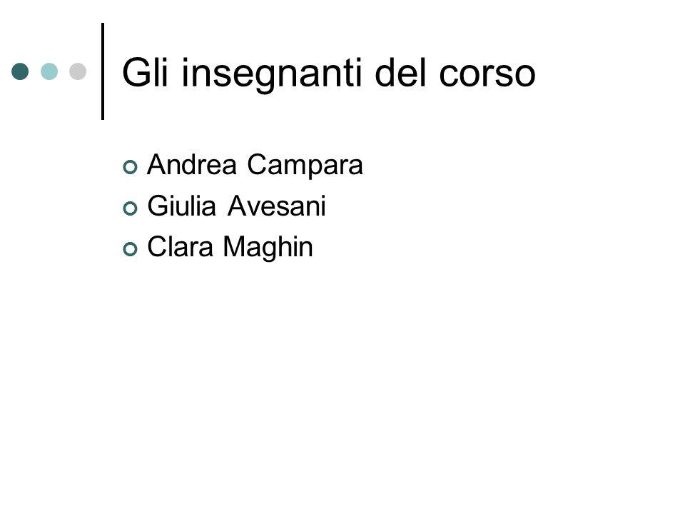 Gli insegnanti del corso Andrea Campara Giulia Avesani Clara Maghin