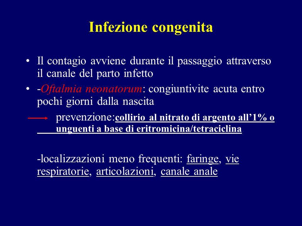 Infezione congenita Il contagio avviene durante il passaggio attraverso il canale del parto infetto -Oftalmia neonatorum: congiuntivite acuta entro po
