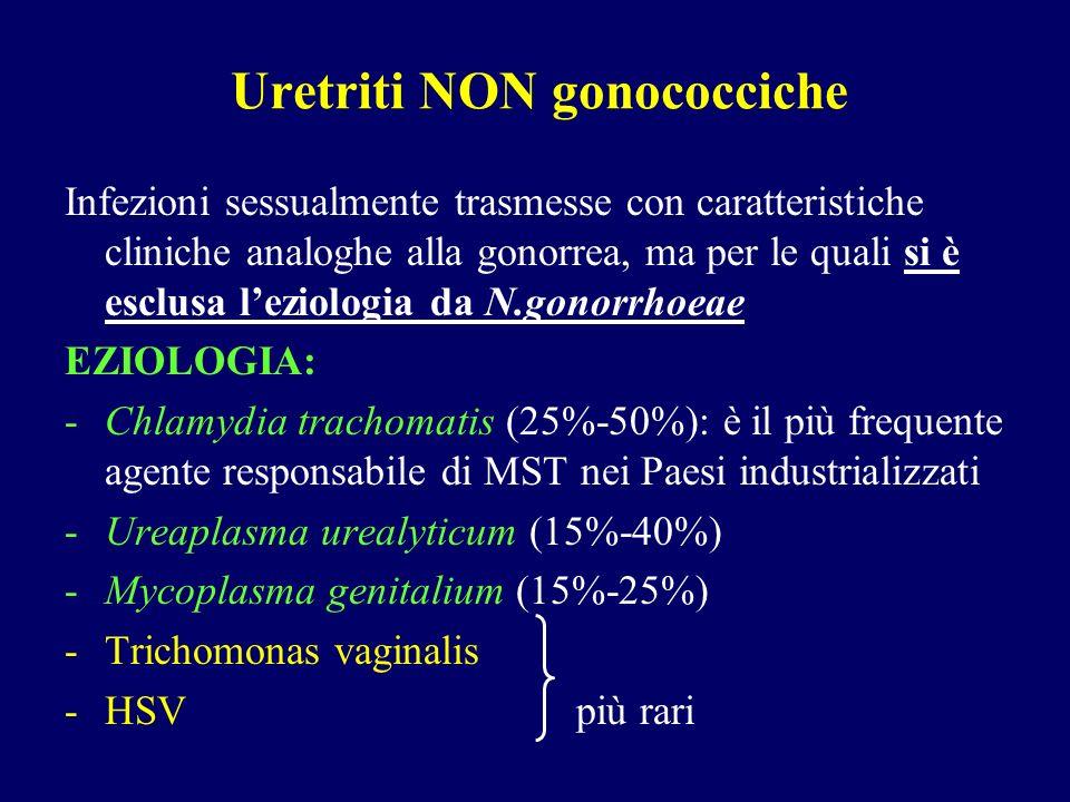 Uretriti NON gonococciche Infezioni sessualmente trasmesse con caratteristiche cliniche analoghe alla gonorrea, ma per le quali si è esclusa leziologi