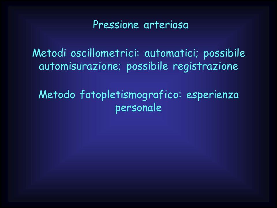 Pressione arteriosa Metodi oscillometrici: automatici; possibile automisurazione; possibile registrazione Metodo fotopletismografico: esperienza perso