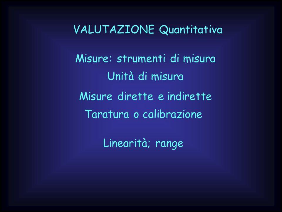 VALUTAZIONE Quantitativa Misure: strumenti di misura Misure dirette e indirette Taratura o calibrazione Linearità; range Unità di misura