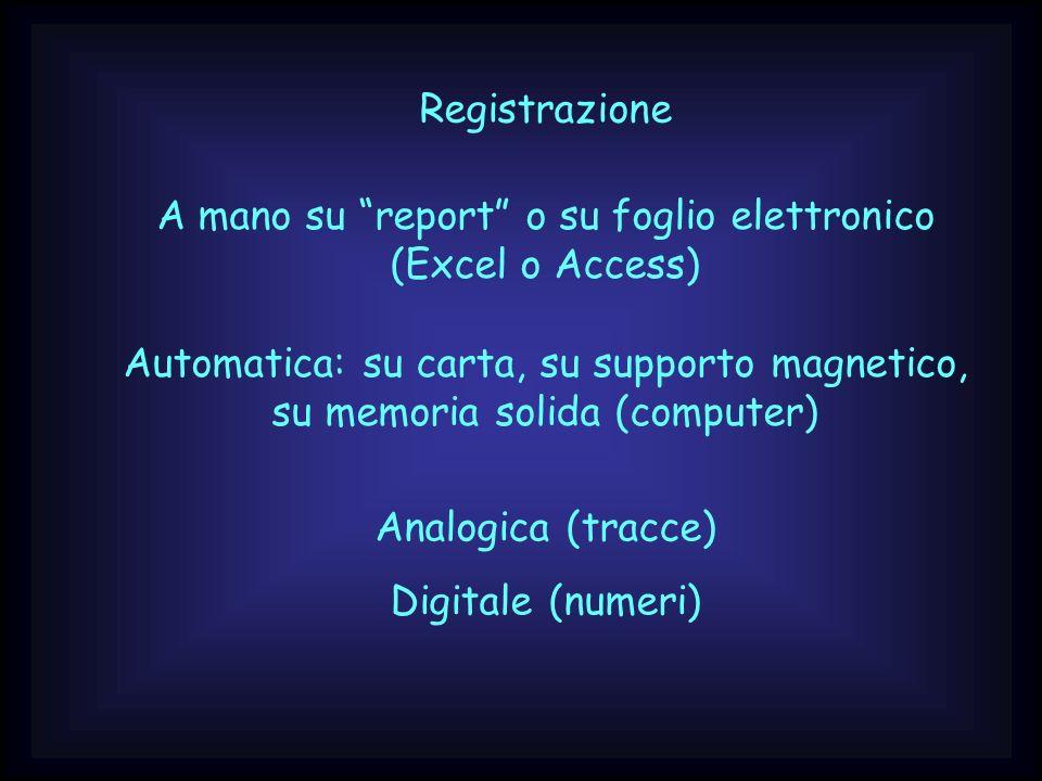 Registrazione A mano su report o su foglio elettronico (Excel o Access) Automatica: su carta, su supporto magnetico, su memoria solida (computer) Anal
