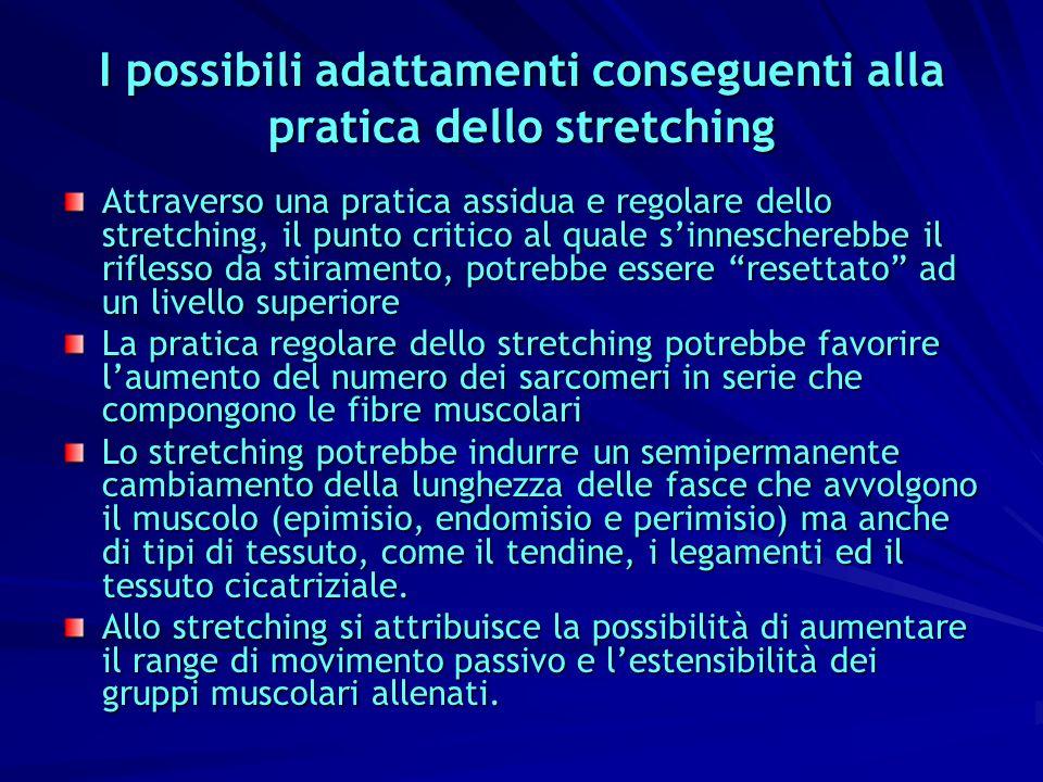 I possibili adattamenti conseguenti alla pratica dello stretching Attraverso una pratica assidua e regolare dello stretching, il punto critico al qual