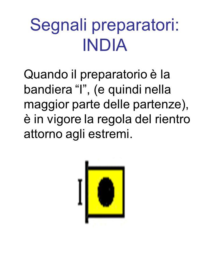 Segnali preparatori: INDIA Quando il preparatorio è la bandiera I, (e quindi nella maggior parte delle partenze), è in vigore la regola del rientro attorno agli estremi.