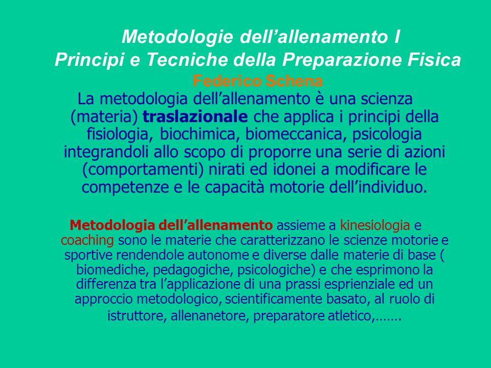 Metodologie dellallenamento I Principi e Tecniche della Preparazione Fisica Federico Schena La metodologia dellallenamento è una scienza (materia) tra