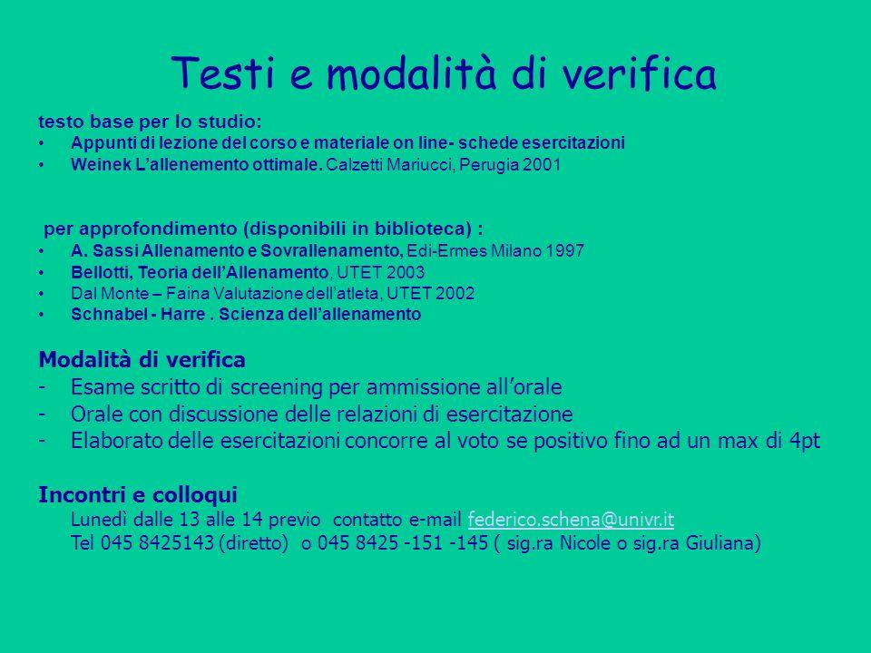 Testi e modalità di verifica testo base per lo studio: Appunti di lezione del corso e materiale on line- schede esercitazioni Weinek Lallenemento otti