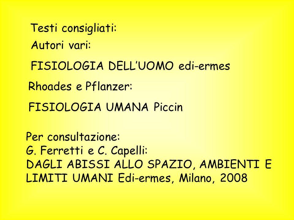 Testi consigliati: Autori vari: FISIOLOGIA DELLUOMO edi-ermes Rhoades e Pflanzer: FISIOLOGIA UMANA Piccin Per consultazione: G. Ferretti e C. Capelli:
