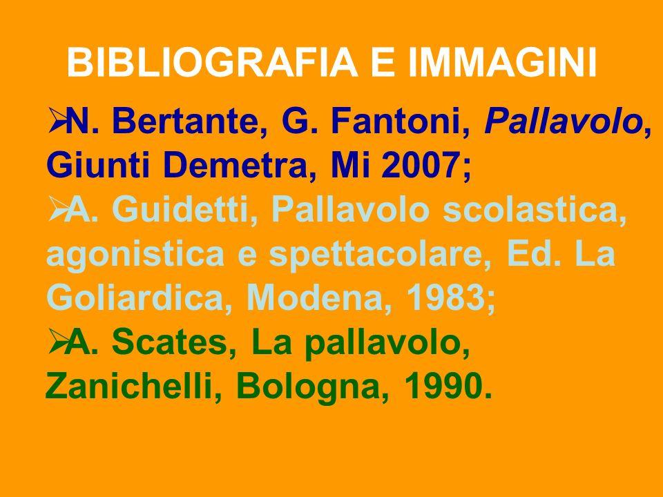 BIBLIOGRAFIA E IMMAGINI N. Bertante, G. Fantoni, Pallavolo, Giunti Demetra, Mi 2007; A. Guidetti, Pallavolo scolastica, agonistica e spettacolare, Ed.