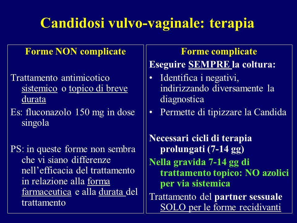 Candidosi vulvo-vaginale: terapia Forme NON complicate Trattamento antimicotico sistemico o topico di breve durata Es: fluconazolo 150 mg in dose sing