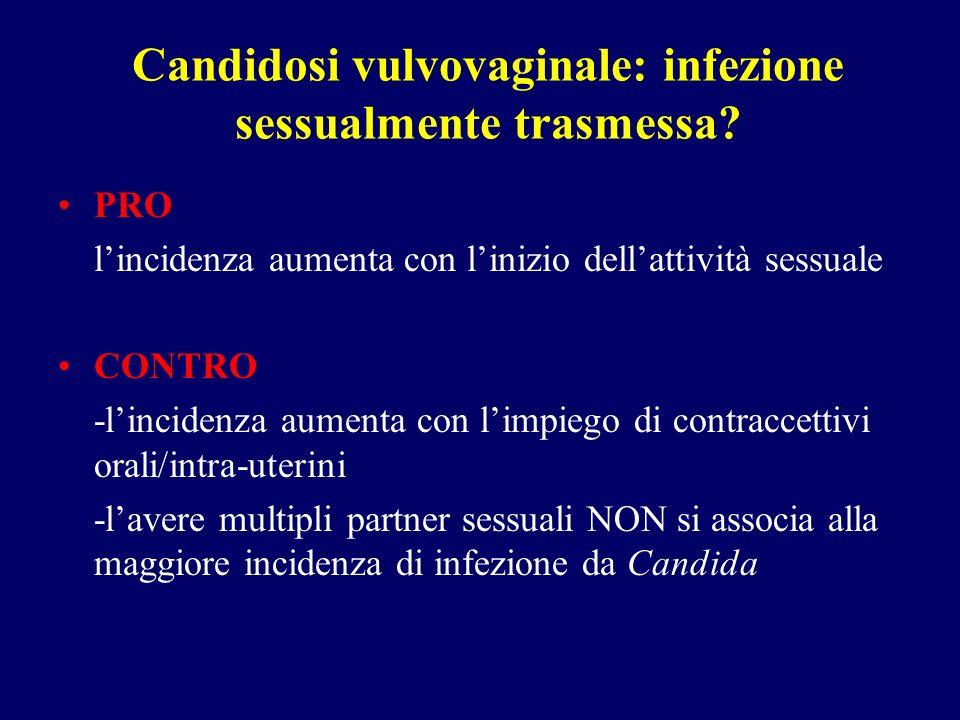 Candidosi vulvovaginale: infezione sessualmente trasmessa? PRO lincidenza aumenta con linizio dellattività sessuale CONTRO -lincidenza aumenta con lim