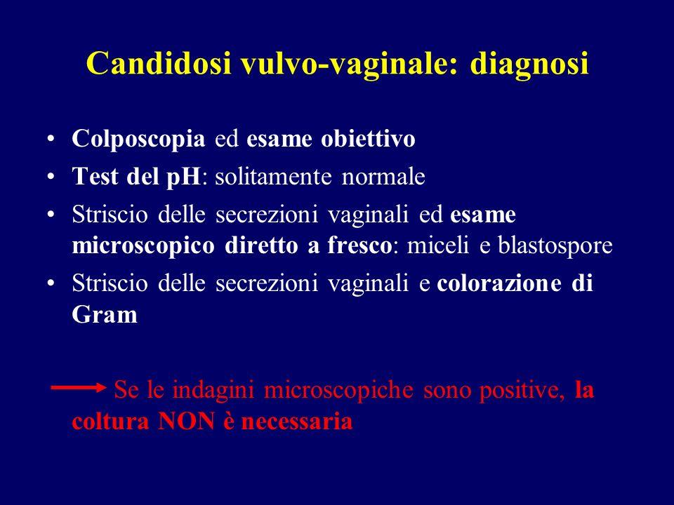 Candidosi vulvo-vaginale: diagnosi Colposcopia ed esame obiettivo Test del pH: solitamente normale Striscio delle secrezioni vaginali ed esame microsc