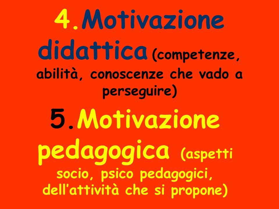 4.Motivazione didattica (competenze, abilità, conoscenze che vado a perseguire) 5.Motivazione pedagogica (aspetti socio, psico pedagogici, dellattività che si propone)