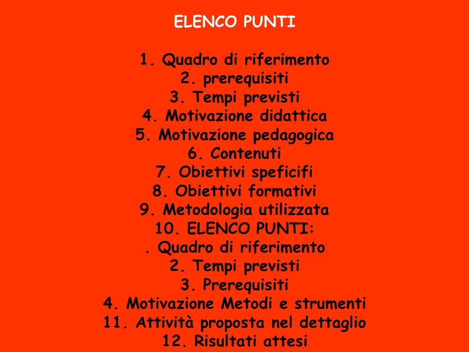 ELENCO PUNTI 1.Quadro di riferimento 2. prerequisiti 3.