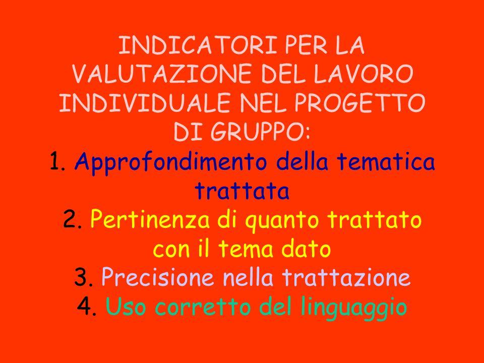 INDICATORI PER LA VALUTAZIONE DEL LAVORO INDIVIDUALE NEL PROGETTO DI GRUPPO: 1.