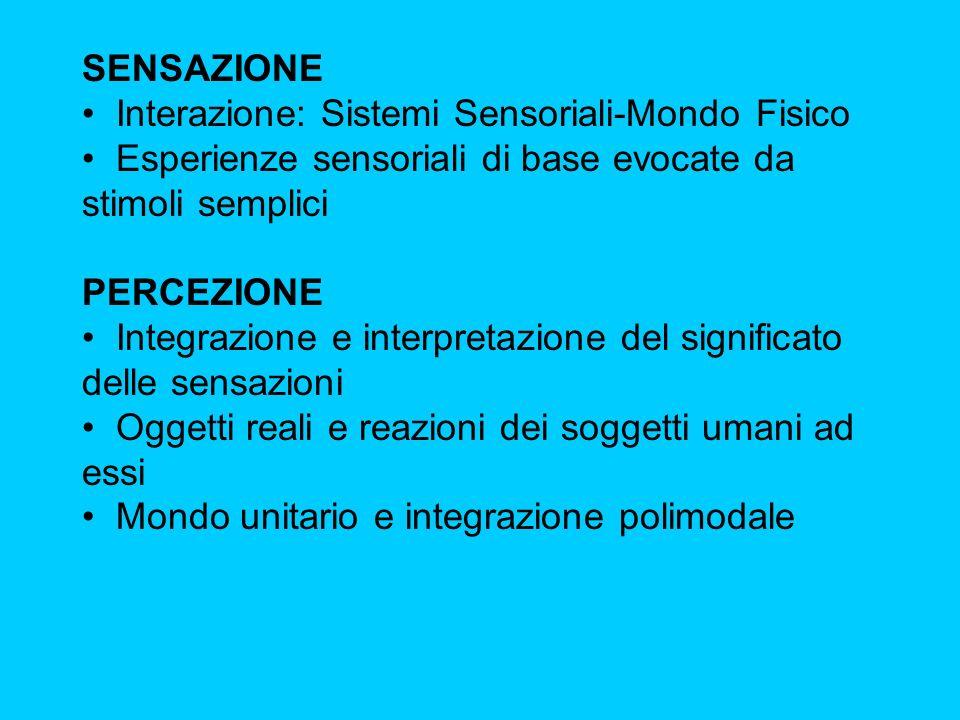 SENSAZIONE Interazione: Sistemi Sensoriali-Mondo Fisico Esperienze sensoriali di base evocate da stimoli semplici PERCEZIONE Integrazione e interpreta