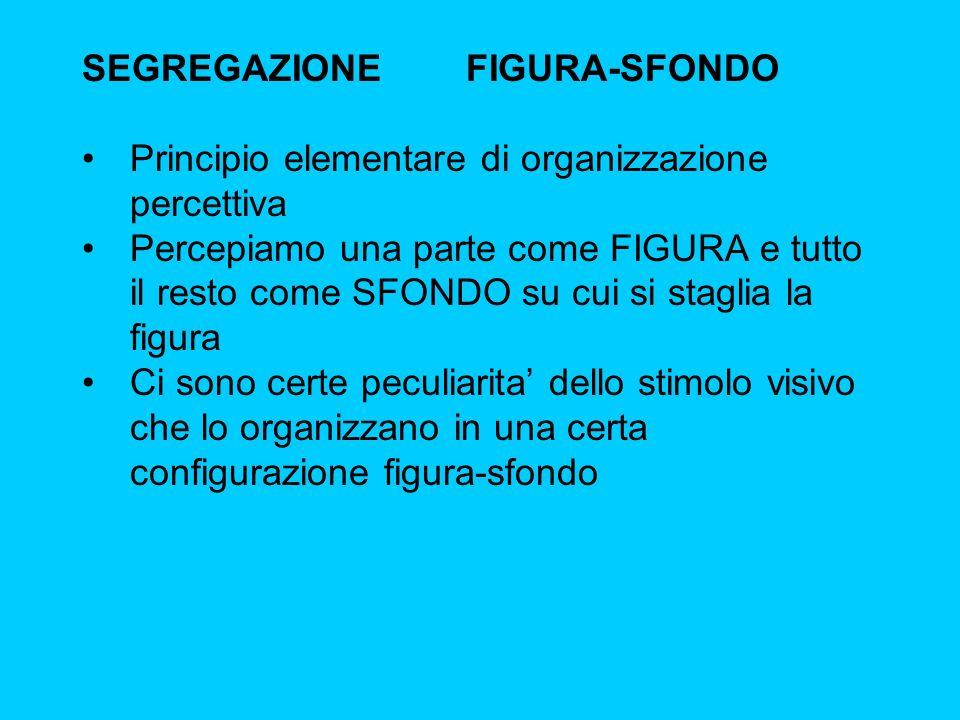 SEGREGAZIONEFIGURA-SFONDO Principio elementare di organizzazione percettiva Percepiamo una parte come FIGURA e tutto il resto come SFONDO su cui si st